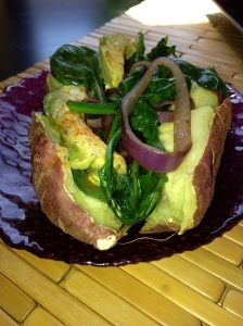 Baked Japanese Potato with Greens